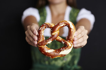 Woman with pretzel