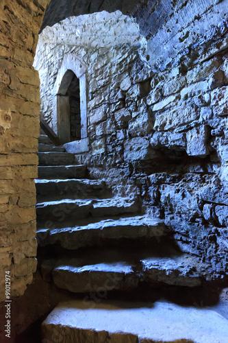 Wall mural steps in underground castte