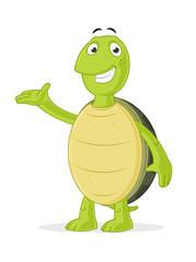 Happy green cartoon turtle