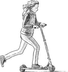 schoolgirl on a scooter