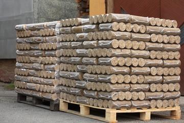 Wood briquettes on pallets