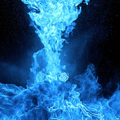 Blue Fire Flame, isolated on black background