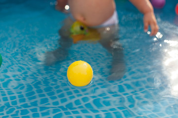 Yellow ball in pool