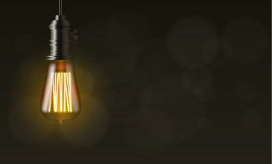 Edison light bulb, vector background with copy space
