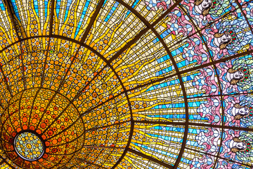 Deurstickers Theater Stained glass ceiling of Palace of Catalan Music