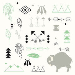 Collection of native American symbols with cute baby buffalo and