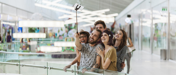 Hipsters In Shopping Mall Taking Selfie