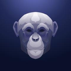 Vintage monkey label. Retro vector design graphic element.