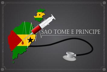 Map of Sao Tome e Principe with Stethoscope and syringe.