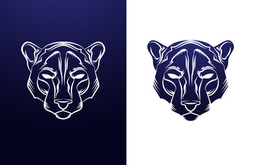 Vintage panther label. Retro vector design graphic element.