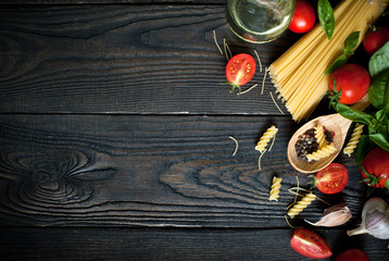 Ingredients for cooking Italian pasta Wall mural