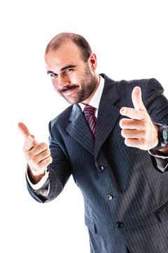 Indicating businessman