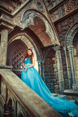 Princess in blue dress is going to open the castle door.