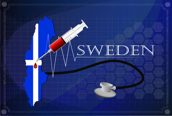 Map of Sweden with Stethoscope and syringe.