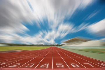 Running track in stadium. and blue sky