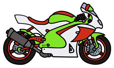 Racing motorbike / Hand drawing, vector illustration