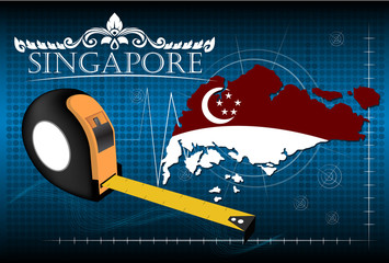 Map of Singapore with ruler, vector.