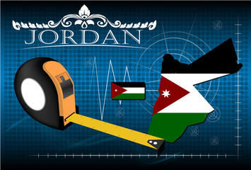 Map of Jordan with ruler, vector.