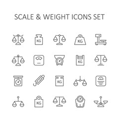 Scale and weight icons set.