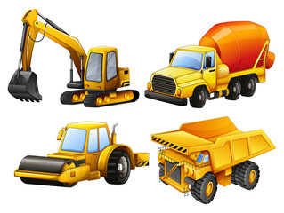 Tractors and bulldozers in yellow