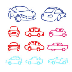 Set of cars icons made marker.