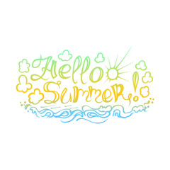 """The inscription on hand drawn style """"Hello summer""""."""
