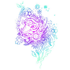 Abstract graphic colored tiger, print.