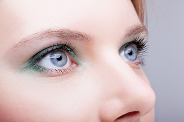 Close-up of female face with eyes makeup