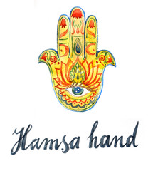 Watercolor of hamsa hand