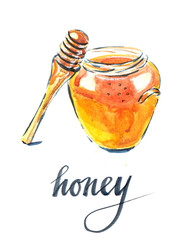 Watercolor of jar with honey