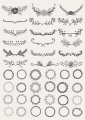 Set of hand drawn decorative wreaths and laurels