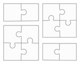 """Jigsaw puzzle four vector flat blank templates"" Stock ..."
