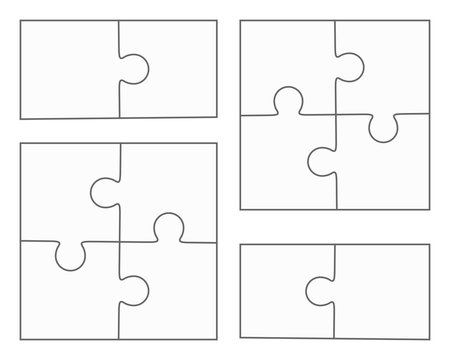Jigsaw puzzle blank vector, four pieces, two elements