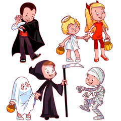 Children in various costumes for Halloween.