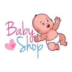 Baby shop logo. Cute toddler in diaper.