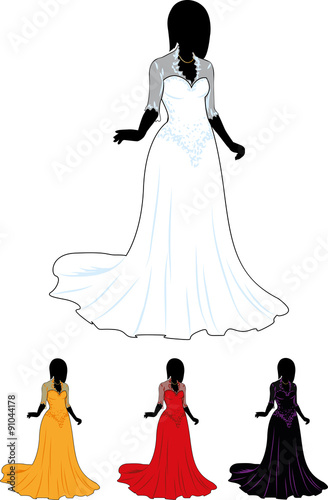 Silhouette Beautiful Woman In White Wedding Gown And