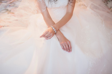 Beautiful hands of young bride, dress, wedding, woman