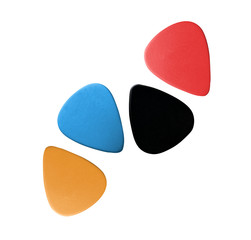 Closeup of 4 colourful plectrums