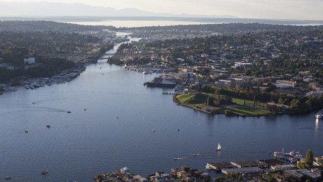 Aerial of Seattle, Washington, Lake Union and the Ballard Locks