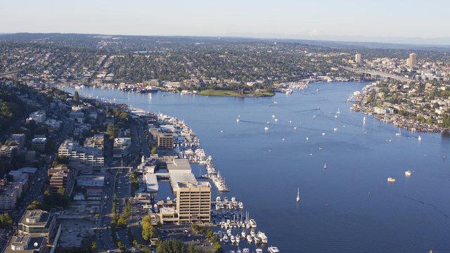 Seattle, Washington aerial of Lake Union and surroundings