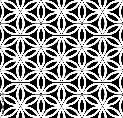 """Vector Modern Seamless Sacred Geometry Pattern , Black"