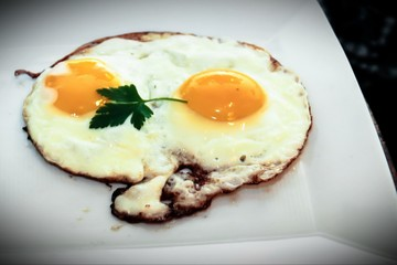 Fried egg. Healthy breakfast