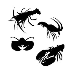 Lobster vector silhouettes.