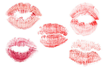 set of  five red lips imprint isolated on white