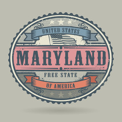Stamp or label with the text United States of America, Maryland