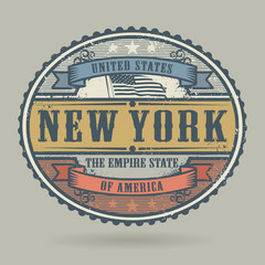 Stamp or label with the text United States of America, New York