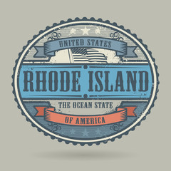 Stamp with the text United States of America, Rhode Island