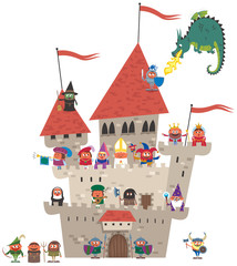 Small Kingdom on White / Small cartoon kingdom on white background. No transparency and gradients used.