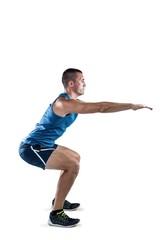 A Fit man doing squats