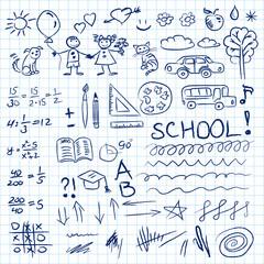 Back to school doodles set in notebook. Vector illustration.